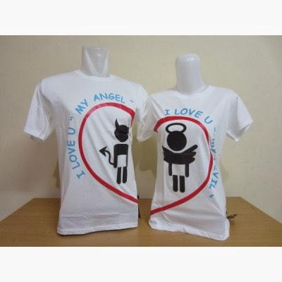 Kaos Couple Murah Love Angel Putih