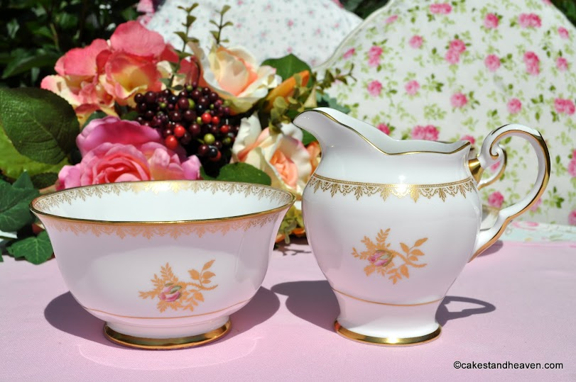 Tuscan gold and pink rose milk jug and sugar bowl