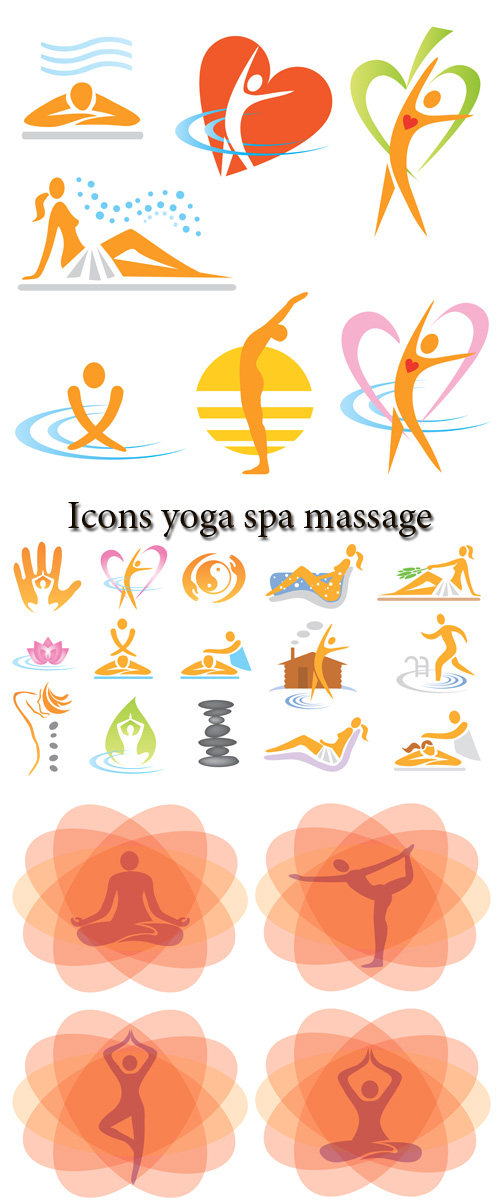Stock: Icons yoga spa massage