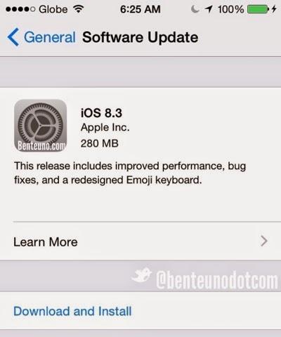 iOS 8.3 Software update; Benteuno.com