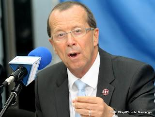Martin Köbler, représentant spécial du secrétaire général de l'Onu pour la RDC  le 28/08/2013 à Kinshasa, lors de la conférence de l'Onu. Radio Okapi/Ph. John Bompengo