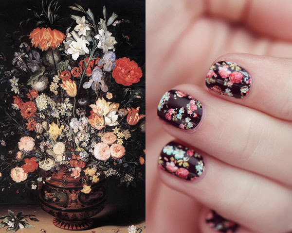 The royal nail famous artists inspire nail art masterpieces sixteenth century flemish painter jan brueghel the elder mastered the art of the still life gorgeous floral bouquets contrast brightly against a dark prinsesfo Gallery