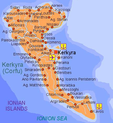 krf mapa grcke Grčka   Krf Letovanje krf mapa grcke