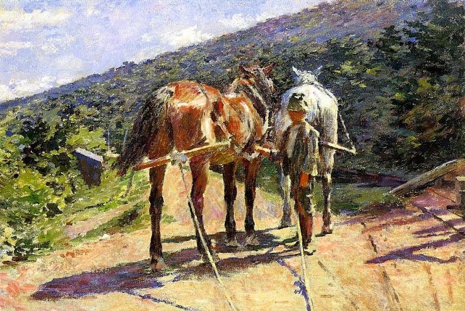 Theodore Robinson - On the Tow-path, a Halt