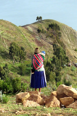 Woman on the Isla del Sol on Lake Titicaca in Bolivia