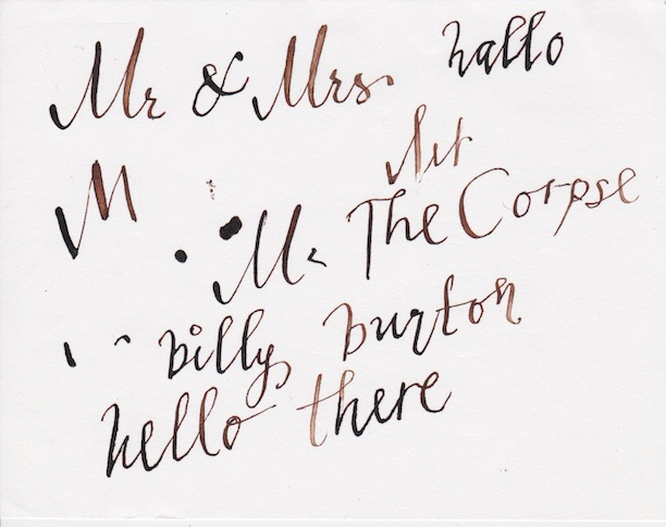 Helena Bonham Carter's calligraphy Billy Burton The Corpse Bride