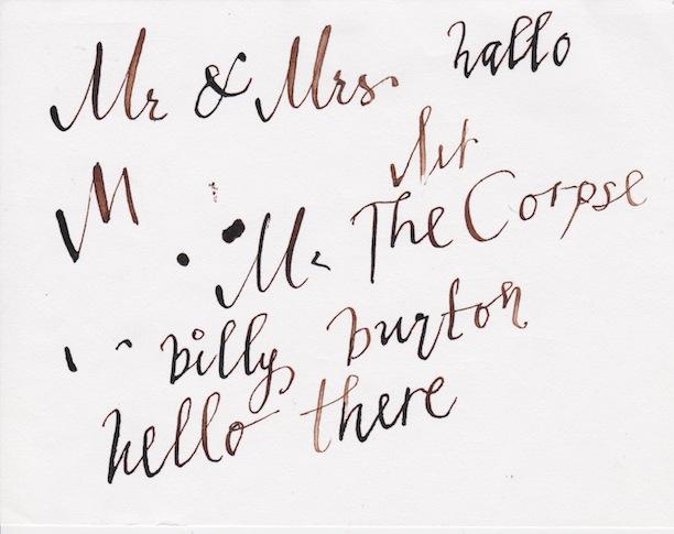 Helena Bonham Carter's calligraphy Billy Burton The Corpse Bride