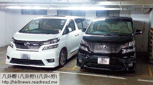 劉華(黑色)與朱麗倩(白色)坐駕,齊齊泊在停車場月租車位,而朱的坐駕登記車主公司,劉華父親劉禮有份持有。
