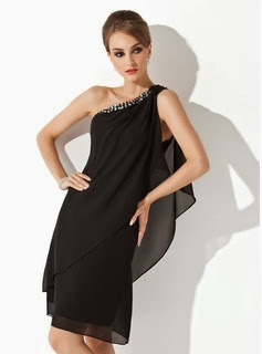 Black One-Shoulder Cocktail Dress from DressFirst
