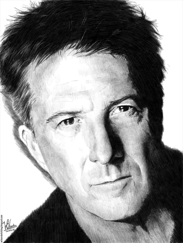 Pencil drawing of Dustin Hoffman, using Krita.