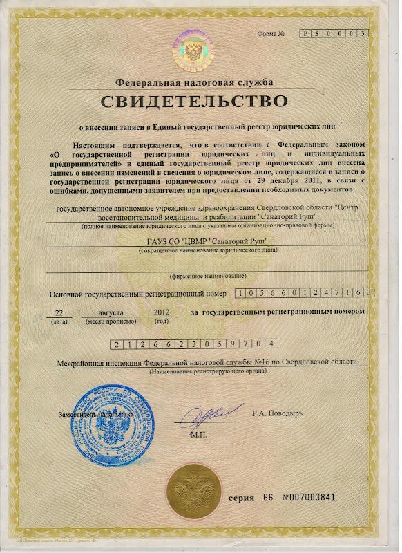 svidetelstvo Учредительные документы