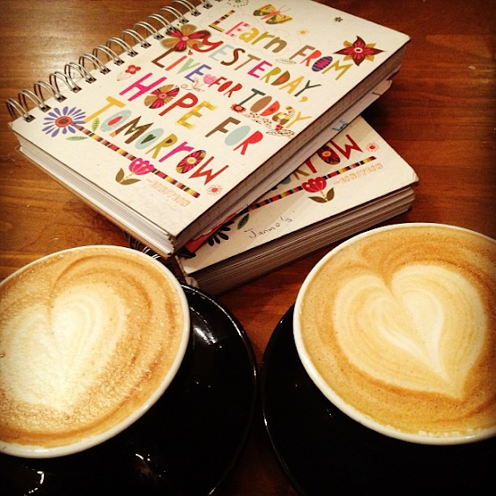 Heart-shaped latte foam is the perfect complement to the hearts that adorn these journal covers (submitted by Darren L.)