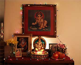 Making Home Shrine For Ganesh Image