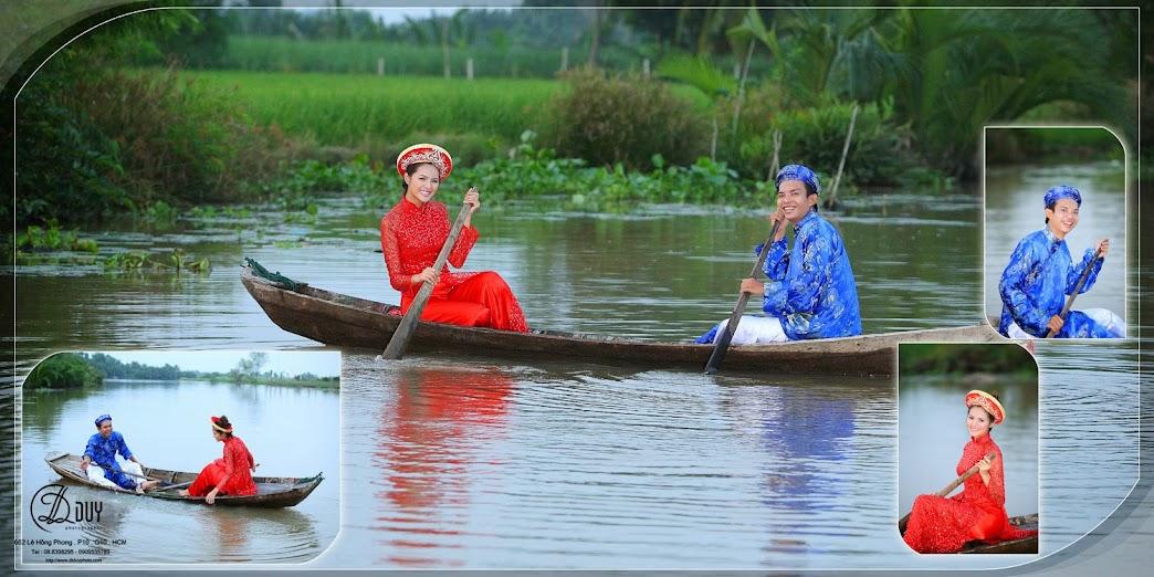 Sông nước, đồng lúa giúp cho album hình cưới quận 2 đậm chất nam bộ