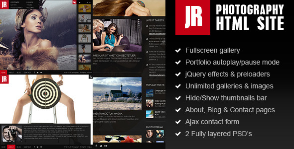 Themeforest JR Photography HTML Site -FULL