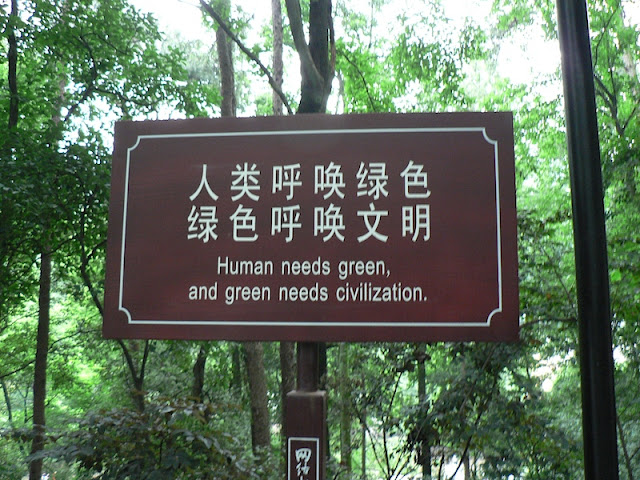 sign reading Human needs green, and green needs civilization.