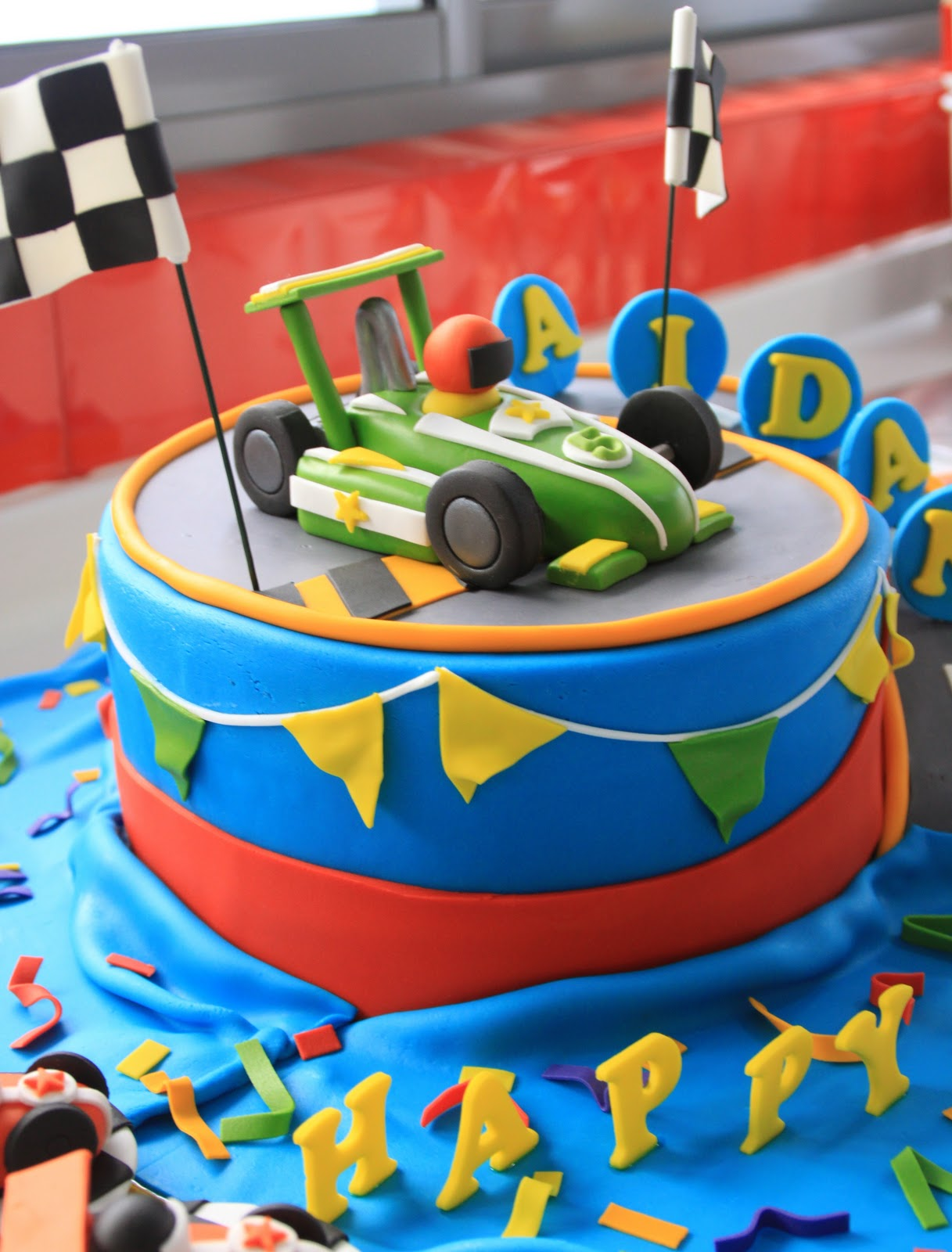 Celebrate With Cake Race Car Cake And Cupcakes