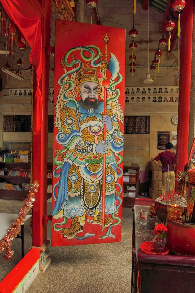 The insides of a Chinese temple in Georgetown, Malaysia