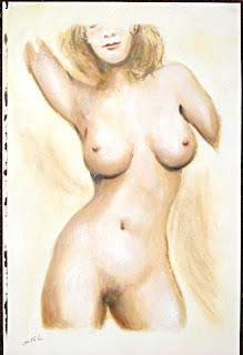 Original fine art painting - Female Nude Torso I