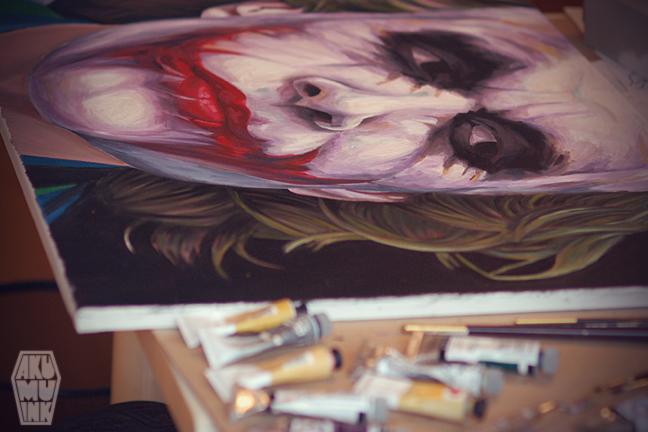 the joker heath ledger, horror painting, joker oil painting, joker painting oil, the joker painting, joker in dark knight rises, joker face paint, painting the joker, painting oil batman