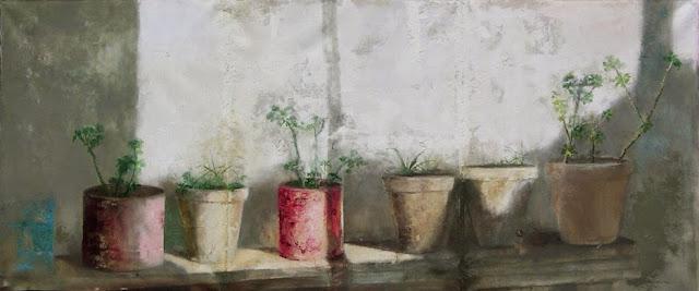Macetas al sol,pintura al óleo  del pintor José Ato