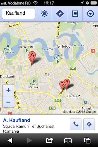 iOS 6 Google Maps results for Kaufland in Bucharest