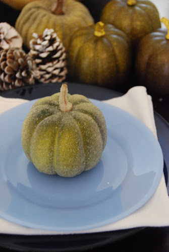 my green pumpkin table setting. I got these pumpkins f