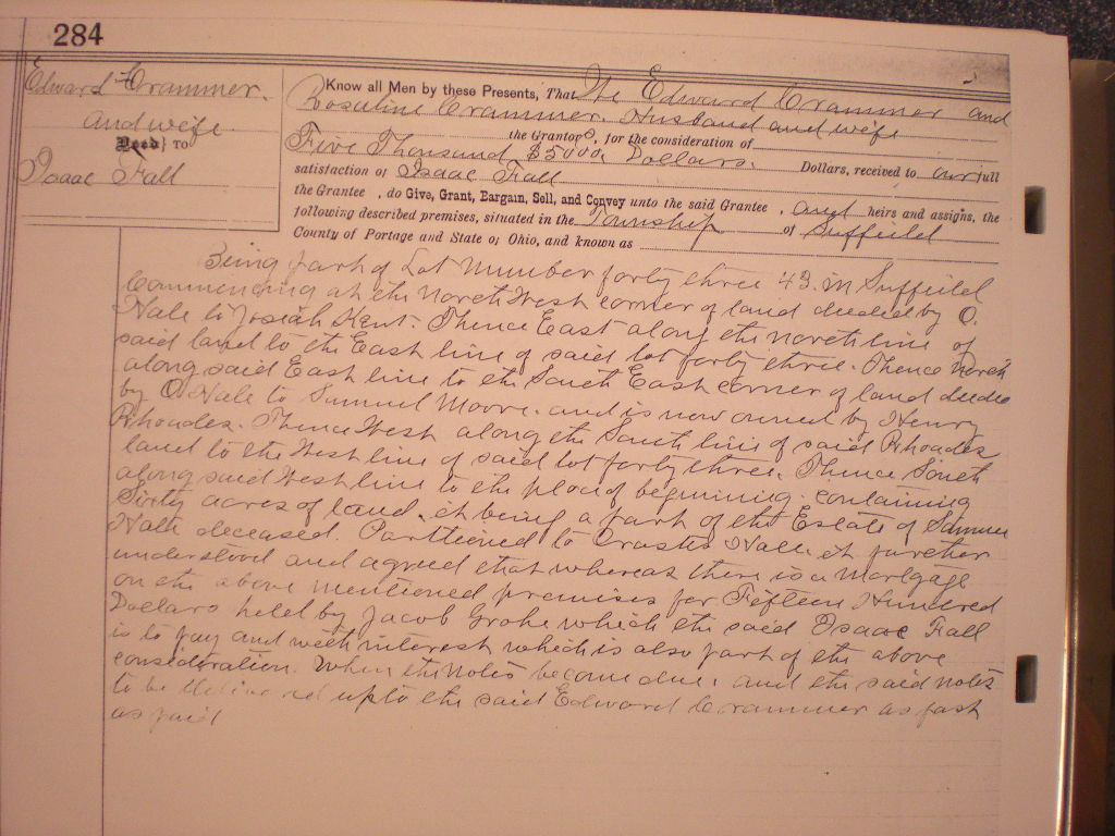 Edward Fluhammer to Isaac Fall, Suffield Twp, Lot 43,