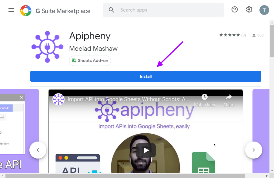 Install the Apipheny Google Sheets add-on in the G-Suite Marketplace