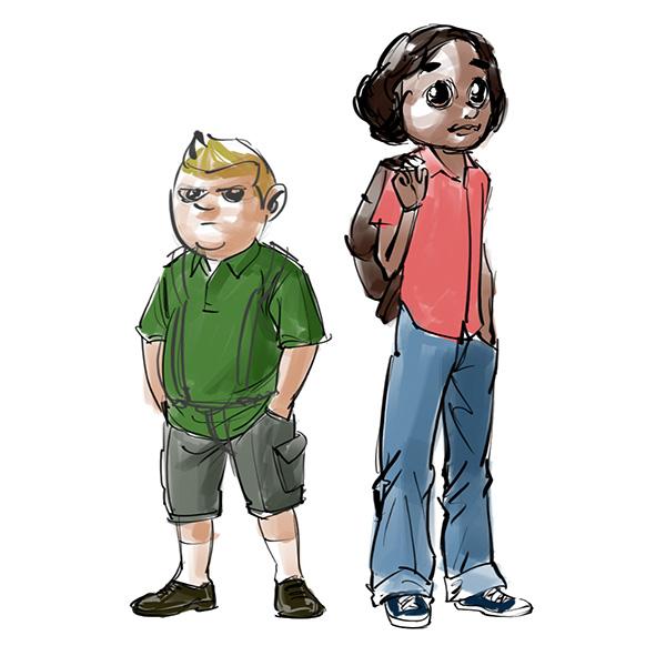 cartoon boy girl sketch