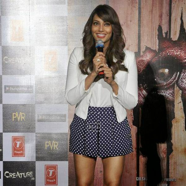 Bipasha Basu fields media query during the trailer launch of Bollywood movie Creature 3D, held at PVR, on July 16, 2014.(Pic: Viral Bhayani)