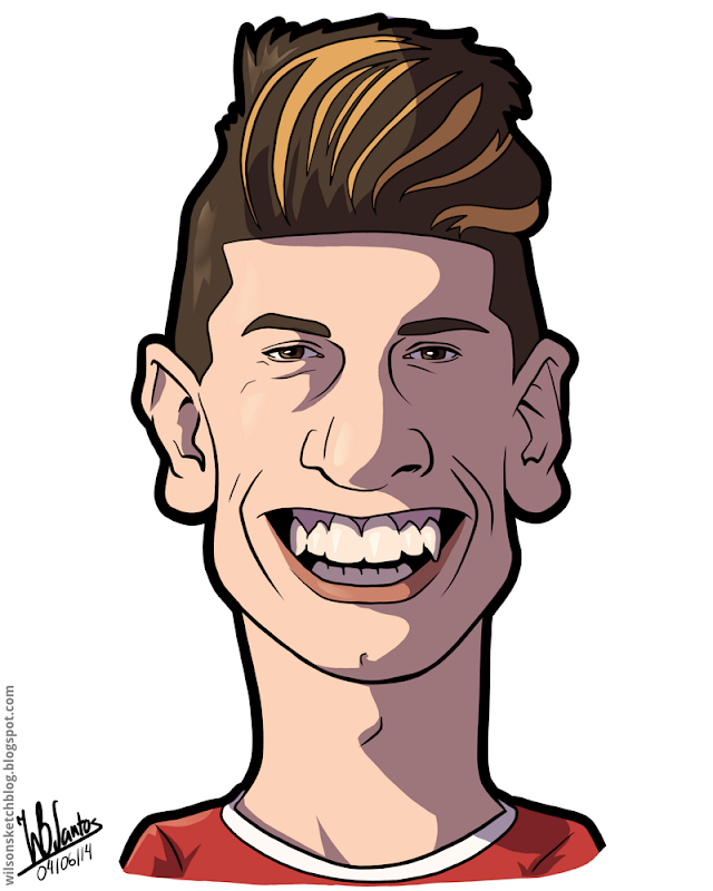 Cartoon caricature of João Cancelo.