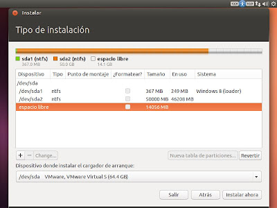 Particionado manual en instalación de Linux Ubuntu Desktop 13.04 dual con Windows 8