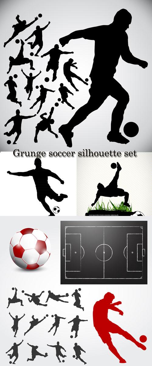 Stock: Grunge soccer silhouette set
