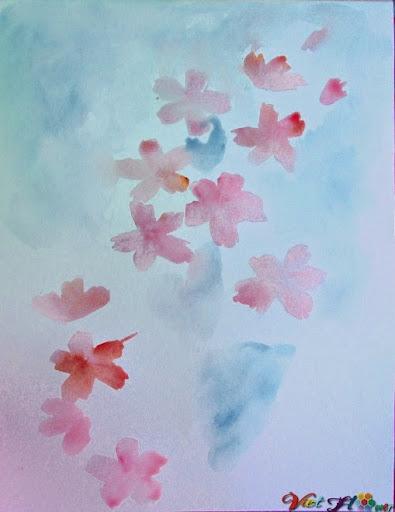 vẽ hoa anh đào bằng màu nước (Bước 3)