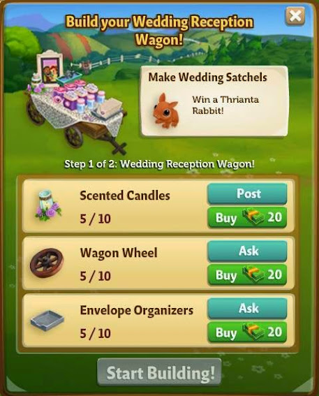 farmville 2 wedding reception table building requirement