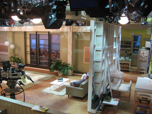 It literally unfolds and is placed in front of our set. It's pretty impressive to watch the process. You can just make out the MARTHA Craft Room in the far right.