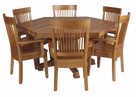 "66"" Diameter, 6 Sided Savoy Table and Harvest Chairs in Natural Cherry"