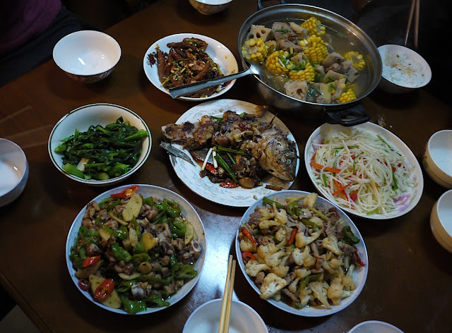 various home-cooked Hunan-style dishes for a dinner in Changsha, China