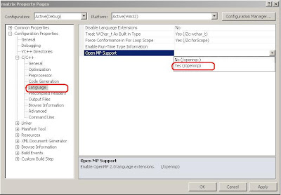 Mengaktifkan Open MP Support