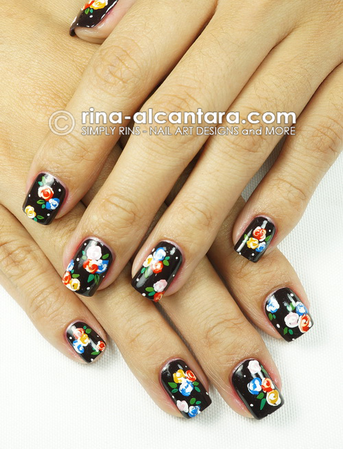 Bunch of Flowers Nail Art Design