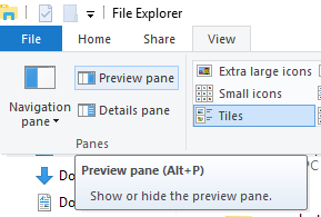 "Disable the ""Preview"" Panel"