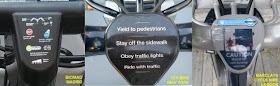 Un manillar de bici pública debe informar de la normativa - pincha para ampliar