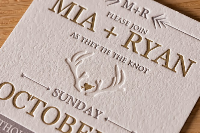 Letterpress Invitations: Mia and Ryan