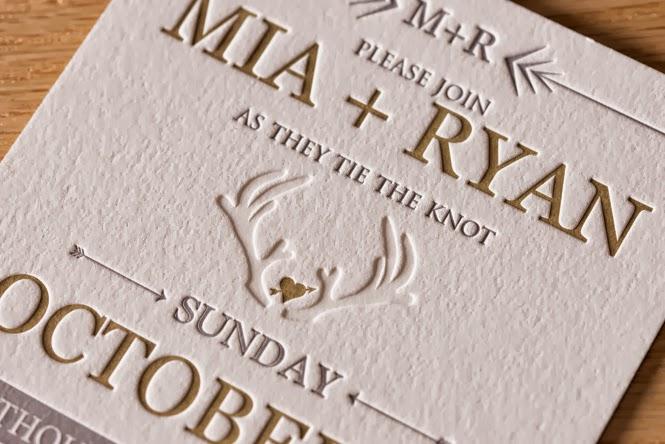 Letterpress Invitations: Mia and Ryan