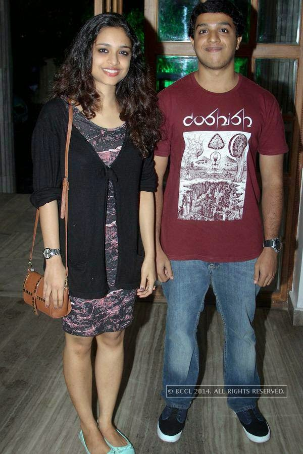 Sruthy and Balu during the music launch of Rajeev Ravi's upcoming movie Njan Steve Lopez in the city.