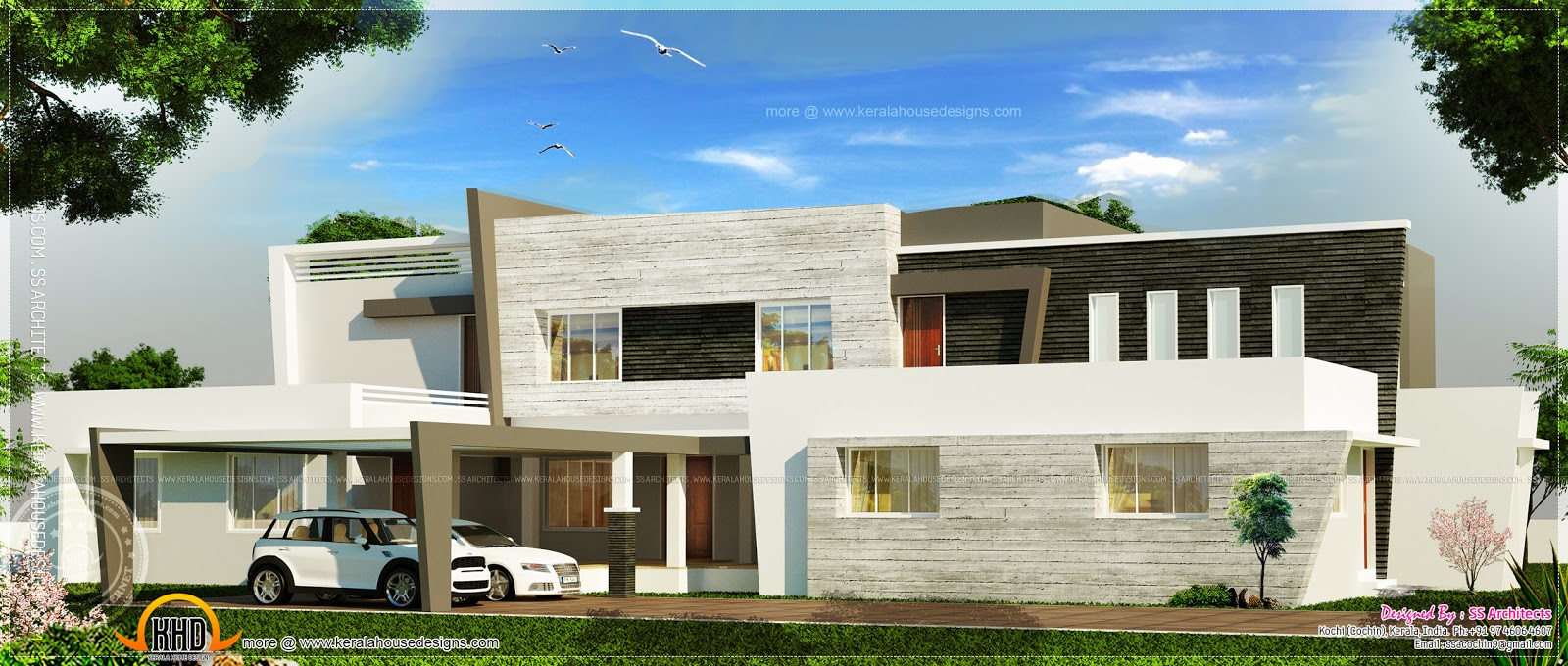 Super Luxury Contemporary Villa Elevation Kerala Home