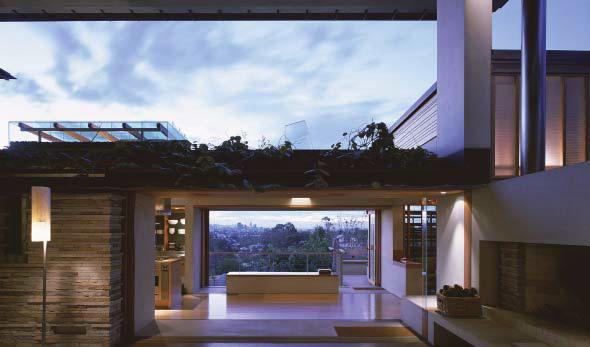 The house has been re fashioned into a series of sub sites that include both indoor and outdoor spaces these sub sites follow the gradient of the landscape