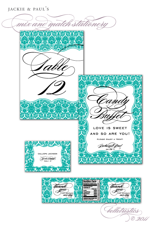 teal damask black wedding reception table number candy buffet sign