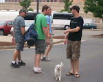 we caught Jordan on dog walking duty when we got back